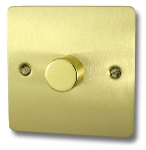 G&H FSB15 Flat Plate Satin Brushed Brass 1 Gang 1 or 2 Way 700W Dimmer Switch Single Plate
